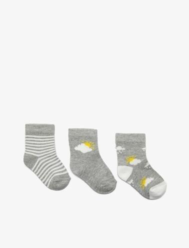 Koton Kids 3'lü Erkek Bebek Çorap Gri